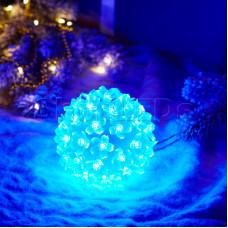 Шар светодиодный 220V, диаметр 12 см, 50 светодиодов, цвет синий